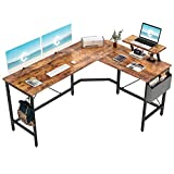 Cubiker Modern L-Shaped Computer Office Desk, Corner Gaming Desk with Monitor Stand, Home Office Study Writing Table Workstation for Small Spaces