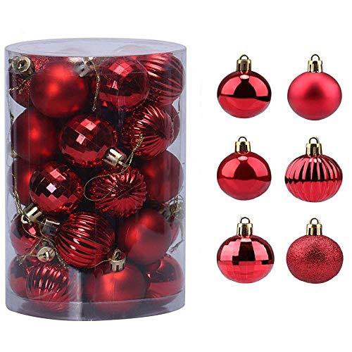 BLAZOR Palle di Natale,34pezzi Palline Addobbi Albero di Natalizie Ornamento Decorazione dell'albero Sfere di Natale Opaco Glitter Partito atrimonio Ornamento Natalizie Plastica Palle(Rosso, 6CM)