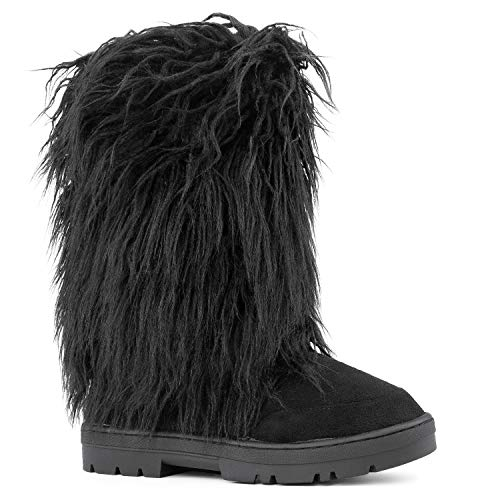 RF ROOM OF FASHION Women's Vegan Faux Long Fur Mid Calf Slip On Round Toe Lug Sole Eskimo Winter Boots TAN (8)