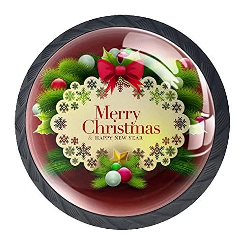 Feliz Navidad con fondo rojo, perilla de gabinete de cajón de alta calidad para oficina, hogar, cocina, baño, aparador