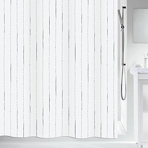 """Spirella Anti-Schimmel Duschvorhang - Anti-Bakteriell, waschbar, wasserdicht - Polyester, """"Primo """" 180x200cm Grau"""