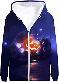 DONTAL Men's Hoodie Halloween 3D Print Long Sleeve Zipper Hooded Sweater Jacket Sweatshirt Coat