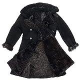 TULUP Russian Sheepskin Leather Coat – Original USSR Bekesha Russian Officer Army Jacket – Handmade, Ultra Warm, Waterproof, Windproof – Mens Shearling Coat Genuine Sheepskin (Black, XL/52)