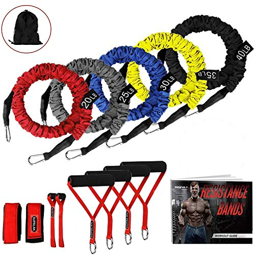 Resistance Bands, 15 Pieces Exercise Elastic Bands Set, 20lbs To 40lbs Resistance Tubes Heavy Duty...