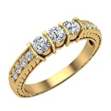 Three stone ring diamond vintage rings for women Past Present Future Anniversary Style 1/2 ct tw 14K Yellow Gold (G, I1) (Ring Size 8)