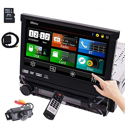 7 inch Single Din Car Stereo Bluetooth Car DVD Player Retractable Capacitive Touch Screen Wince System Support GPS Navigation/USB/SD/Cam-in/Work with Bluetooth/SWC & Free Backup Camera Included