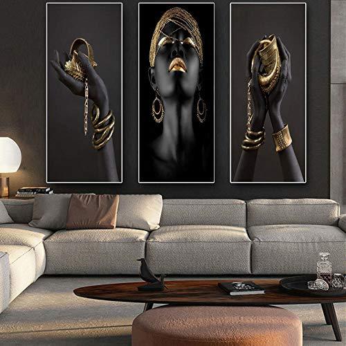 Mano negra y dorada con pulsera de oro Pintura al óleo sobre lienzo Carteles de arte africano Impresiones Cuadros de pared para decoración de sala de estar50x70cm x3Sin marco