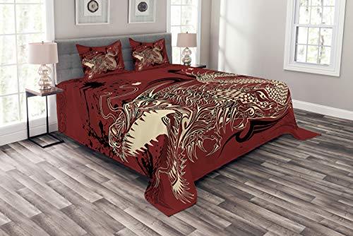ABAKUHAUS Drachen Tagesdecke Set, Japanische Drachen Doodle, Set mit Kissenbezügen Sommerdecke, für Doppelbetten 220 x 220 cm, Elfenbein Rubin