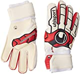Uhlsport Ergonomic Absolutgrip Guantes, Unisex Adulto, Blanco/Rojo/Negro, 9.5