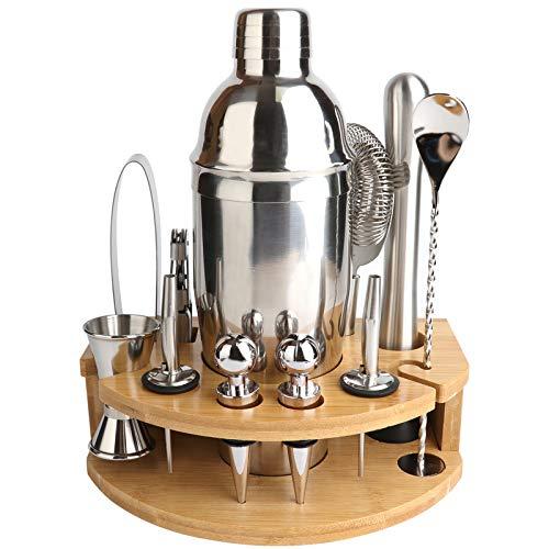 Juego de coctelera de barman, kit de 12 piezas con elegante soporte de bambú, juego de herramientas de barra profesional de acero inoxidable de 25 onzas – Folleto de recetas de cola de muñeco
