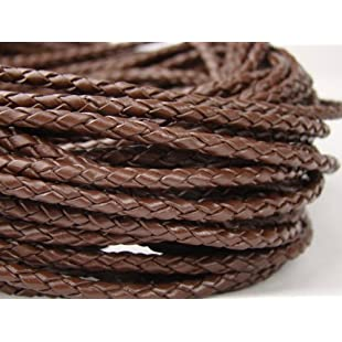Plaited Leather Cord 1 m Diameter 3.0 mm Brown:Kisaran