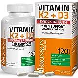 Bronson Vitamin K2 (MK7) with D3 Extra Strength Supplement Bone and Heart Health Non-GMO Formula 10,000 IU Vitamin D3 & 120 mcg Vitamin K2 MK-7 Easy to Swallow Vitamin D & K, 120 Capsules