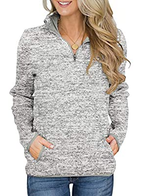 Aleumdr Womens Fall Winter Long Sleeve Pullover Tops Casual Quarter Zip Sweatshirts with Pockets Gray Medium 8 10