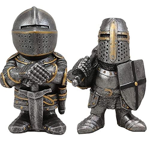 Yigenten - Figura de caballero de Gnomes Guarde, torneado cruzado, caballero para el jardn, decoracin de escultura de caballero europeo, miniatura de armadura alta (combinacin B)