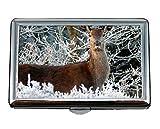 Estuche para Cigarrillos y Caja para Guardar Objetos, Reno Invierno Navidad Árbol de Nieve Titular de la Tarjeta de Visita Monedero ID de Tarjeta de crédito Estuche