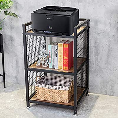 3-Tier Printer Stand, Floor Printer Table, Standing Printer Cart, Office Storage Rack/Shelf , Document Organizer Table, A4 Paper Collection, Suit for Most Printers, 19.3'' x 19.3'' x 34.8''