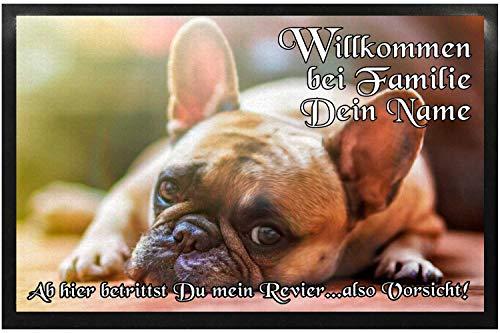 KlebeSpatz® Fußmatte mit Namen Bild individuell Schmutzfangmatte Türmatte Schmutzmatte Motivfußmatte Fussmatte Napfunterlage Hundematte Campingmatte Bootsmatte Hund Bulldogge