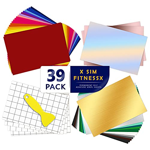 39 Permanent Adhesive Backed Vinyl Sheets Set,35 Vinyl Sheets 12' x 8' + 4...