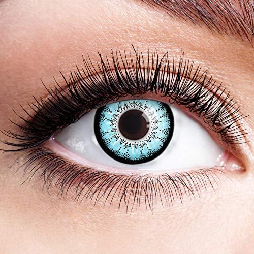 Farbige Kontaktlinsen Blau Ohne Stärke Blaue Crazy Weiche Motiv-Linsen Farbig Halloween Karneval Fasching Cosplay Kostüm Hellblau Schwarz Rand Lunatic Motiv