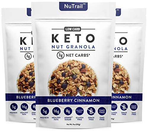 NuTrail™ - Keto Blueberry Nut Granola Healthy Breakfast Cereal - Low Carb Snacks & Food - 3g Net Carbs - Almonds, Pecans, Coconut and more (11 oz) (1 Count)