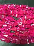 LOVEKUSH - Perline rare 1/2 filo-18 x 11 mm-12 x 16 mm in calcedonio rosa sfaccettato - circa 32 pezzi/filo-lunghezza 20,3 cm - Calcedonio sfaccettato nugget Beads Code-RR05