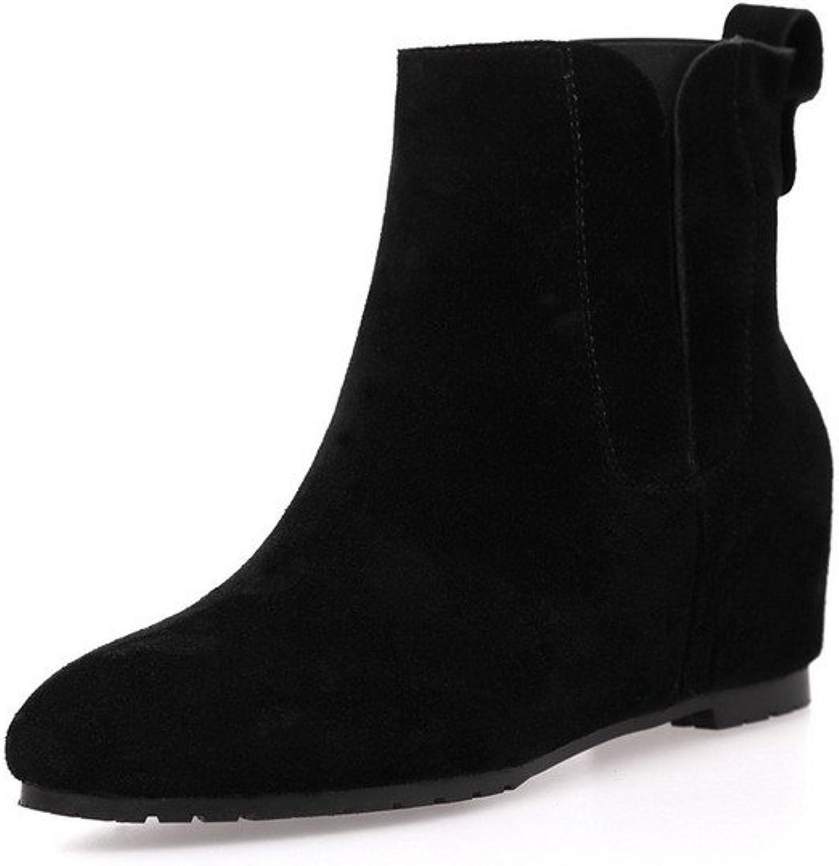 AmoonyFashion Women's Round-Toe Closed-Toe Kitten-Heels Boots with Heighten Inside and Thread