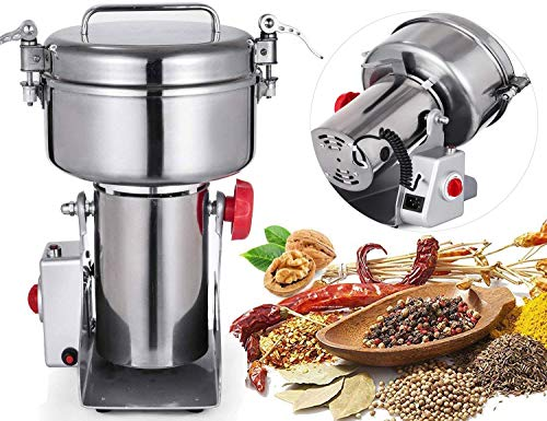 Happybuy Electric Grain Grinder 1000g Food Grade Stainless Steel Mill Powder Machine 2800W 50-300 Mesh for Kitchen Herb Spice Pepper Coffee