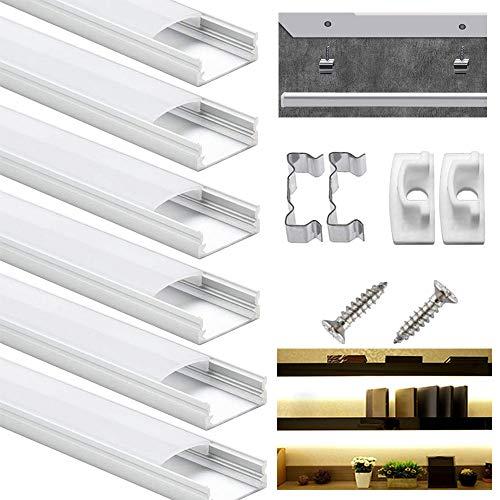 LED Profil 6 × 1M, DazSpirit 6er-Pack LED Aluminium Profil U-Form mit Weiß Milchige Abdeckung, Endkappen, und Montageklammer für LED-Streifen, Leisten, LED Strips (U-Form)