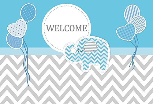 Lfeey 7x5ft Polyester Boys Baby Shower Backdrop Prince Little Elephant Balloons Gray Chevron Gender Reveal Backdrops For Photography Video Drapes Wallpaper Photo Booth Props No Wrinkle Wantitall