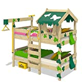 WICKEY Lit superposé CrAzY Ivy Lit de jeu pour 2 enfants Lit double avec toit, échelle d'escalade et sommier à...