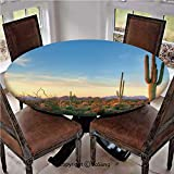 "Elastic Edged Polyester Fitted Table Cover,Sonoran Desert Catching Days Last Rays Saguaro Cactus Wild Vegetation Decorative,Fits up 40""-44"" Diameter Tables,The Ultimate Protection for Your Table,Green"