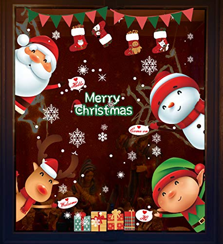 WITBAY NoëL Autocollants Fenetre NoëL Stickers Décoration DIY Fenêtres Stickers Porte de Bonhomme de Neige Santa Autocollant étanche (Type-1)