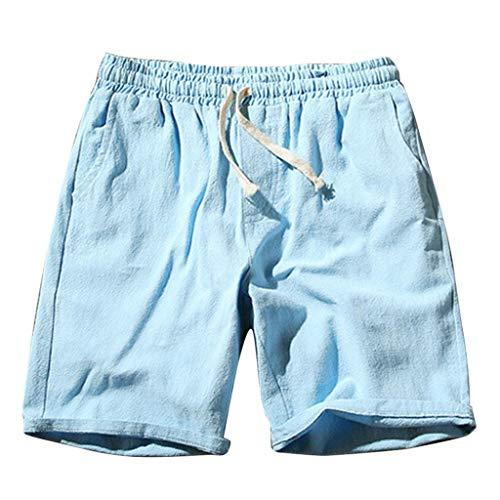 iHAZA Hommes Été Nouveau Baita Lin Mode Coton Lin Short Confortable Grand Shorts Pants
