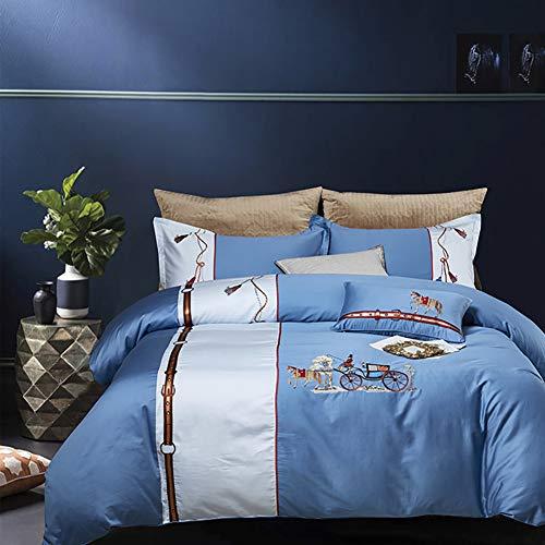 MNBVC Bedding Duvet Cover Set 4 Pcs,Adult Luxury Solid Color Blue Duvet Cover Cotton Anti-allergy Anti-wrinkle King Queen Size