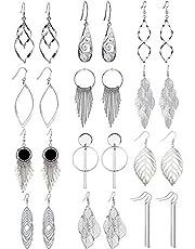12 par hängande örhängen för kvinnor dinglande mode silverörhängen vridna nio löv filigran smycken tårdroppe hängande örhängen set för kvinnor flickor