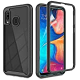 Galaxy A20 Case,Samsung Galaxy A20 Phone Case with HD Screen Protector, Gritup [Military Grade] Clear Crystal Shockproof Slim Fit Protective Case for Samsung A20 Black