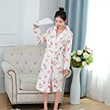 Pijama de Franela Albornoz de Hotel Bata de baño de Terciopelo Coral de Manga Larga para Mujer