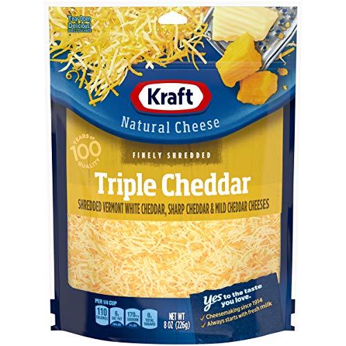 Kraft Finely Shredded Triple Cheddar Cheese, 8 oz Bag