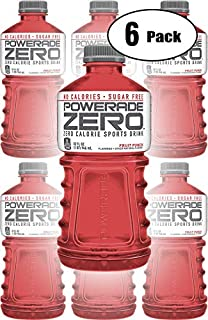 Powerade Zero Red Fruit Punch, Zero Calorie Sports Drink, 32oz Bottle (Pack of 6, Total of 192 Oz)