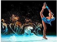 YJDFGDIYダイヤモンド絵画フィギュアスケート少女ダイヤモンド刺繡ラウンドダイヤモンドモザイクナンバー壁飾り40x50cm