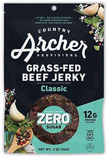 Zero Sugar Classic Beef Jerky by Country Archer   100% Grass-fed, Sugar-free Beef Jerky   Keto, Low Carb, Protein Snacks   2 Ounce (6 Pack)