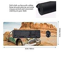 砂漠 車 廃車 マウスパッド ゲーミングマウスパット デスクマット キーボードパッド 滑り止め 高級感 耐久性が良い デスクマットメ キーボード パッド おしゃれ ゲーム用(90cm*40cm)