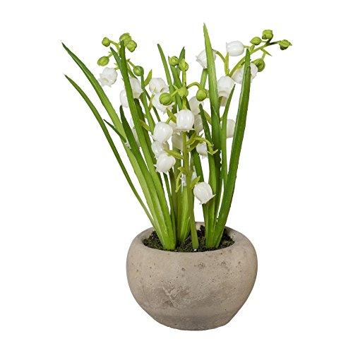 Kunstpflanze MAIGLÖCKCHEN im Zementtopf. Ca 15 cm. Maiglöckchen getopft.