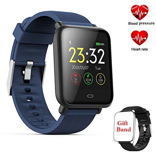 TEAMYO Fitness Tracker, Fitness Armband Smartwatch mit Herzfrequenz-Blutdruckmessgerät, 1,3 Zoll TFT-Farbbildschirm Fitness-Uhr mit Message Reminder Schlaf Monitor (Q9-Blue)