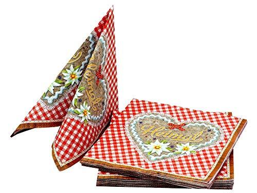 Unbekannt Servietten Oktoberfest Bayrisch Rot 20 Stück Rauten Tischdeko Party Deko Lebkuchen