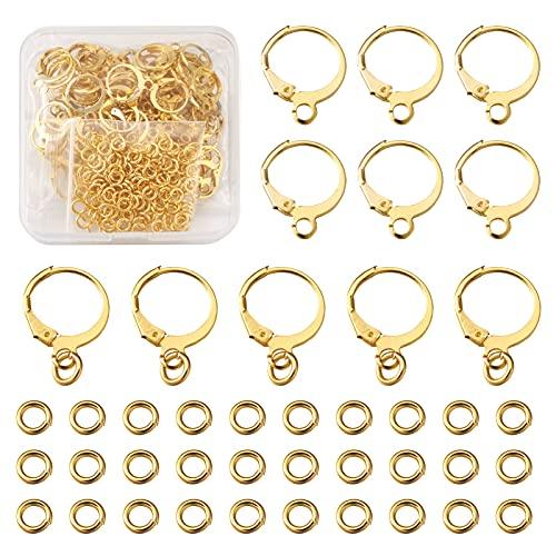 Beadthoven - Juego de 100 aros redondos chapados en oro con bisagras para hacer pendientes con 150 anillos abiertos para mujeres y niñas, repuesto