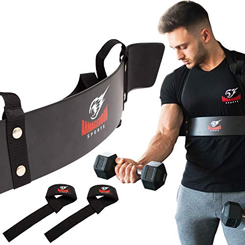 Bizeps Isolator Arm Blaster Curl + BONUS Premium Lifting Straps, Trizeps Isolation Bizepstrainer Fitness Maschine Support Training