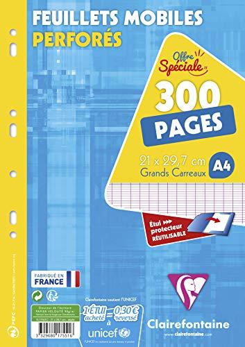 Clairefontaine 17551C - Un étui carton de 300 pages Feuillets mobiles perforés 21x29,7 cm 90g grands carreaux