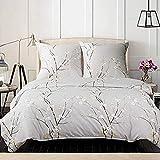 Bedsure Baumwolle Bettwäsche 155x220 cm Hellgrau Bettbezug Set mit schickem Pflaumenblüte Muster, 3 teilig weiche Bettbezüge mit Reißverschluss und 2 mal 80x80cm Kissenbezug