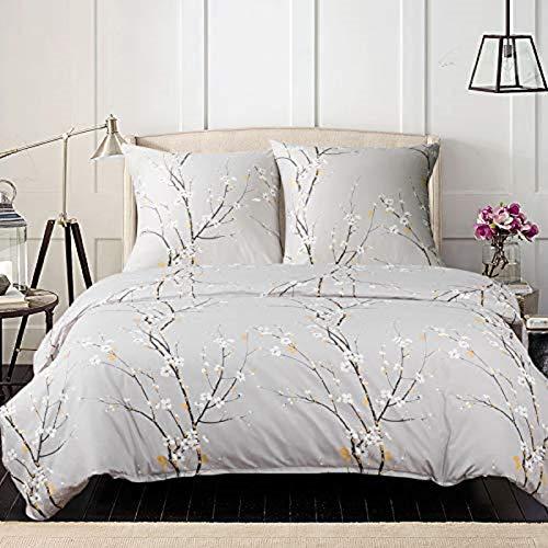 Bedsure Baumwolle Bettwäsche 155x220 cm Hellgrau Bettbezug Set mit schickem Pflaumenblüte Muster, 3 teilig weiche Flauschige Bettbezüge mit Reißverschluss und 2 mal 80x80cm Kissenbezug
